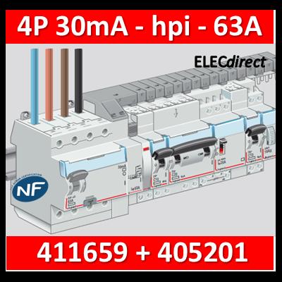 LEGRAND - Interrupteur différentiel DX3-ID 4P 63A - 30mA - HPI + peigne HX3 12M - 411659+405201