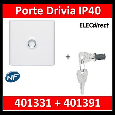 Legrand - Porte Blanche pour tableau DRIVIA - 13 Modules 1 Rangée + serrure - 401331+401391