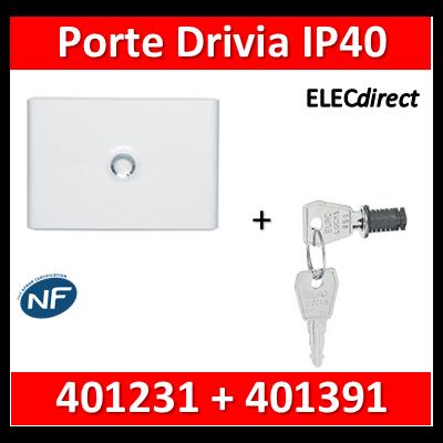 Legrand - Porte Blanche pour tableau DRIVIA - 18 Modules 1 Rangée + serrure - 401231+401391