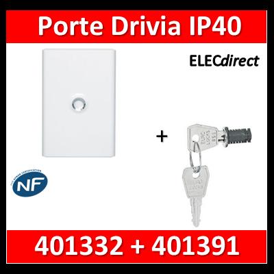 Legrand - Porte Blanche pour tableau DRIVIA - 26 Modules 2 Rangées + serrure - 401332+401391