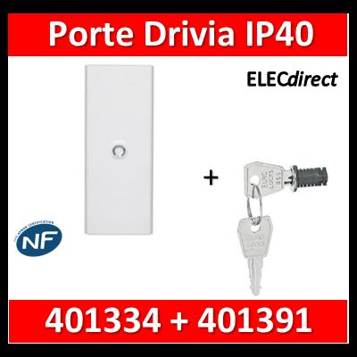 Legrand - Porte Blanche pour tableau DRIVIA - 52 Modules 4 Rangées + serrure - 401334+401391