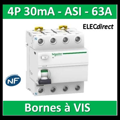SCHNEIDER - Interrupteur Différentiel 4P - 63A - 30mA - ASI - A9R31463