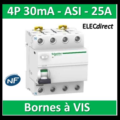 SCHNEIDER - Interrupteur Différentiel 4P - 25A - 30mA - ASI - A9R31425