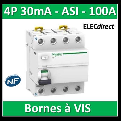 SCHNEIDER - Interrupteur Différentiel 4P - 100A - 30mA - ASI - A9R31491