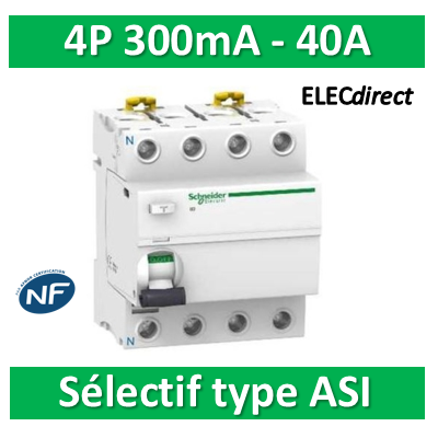 SCHNEIDER - Interrupteur Différentiel 4P - 40A - 300mA - ASI - Sélectif - A9R35440