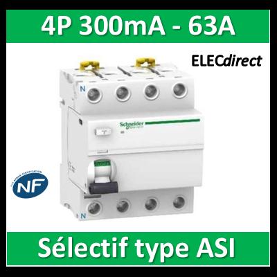 SCHNEIDER - Interrupteur Différentiel 4P - 63A - 300mA - ASI - Sélectif - A9R35463