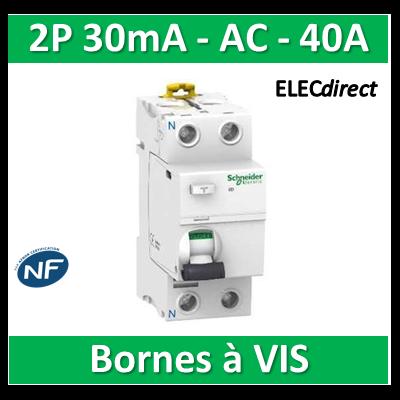 SCHNEIDER - Interrupteur Différentiel 2P - 40A - 30mA - AC - A9R11240