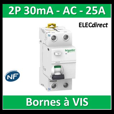 SCHNEIDER - Interrupteur Différentiel 2P - 25A - 30mA - AC - A9R11225