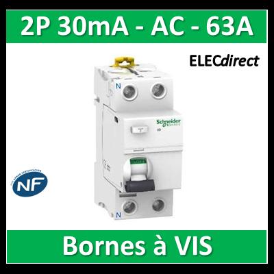 SCHNEIDER - Interrupteur Différentiel 2P - 63A - 30mA - AC - A9R11263