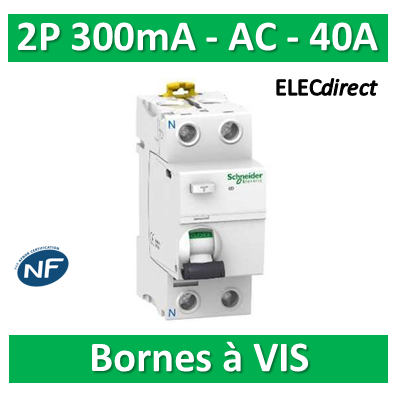 SCHNEIDER - Interrupteur Différentiel 2P - 40A - 300mA - AC - A9R14240