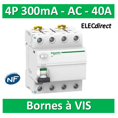 SCHNEIDER - Interrupteur Différentiel 4P - 40A - 300mA - AC - A9R14440
