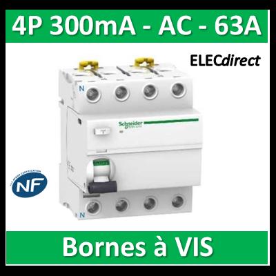 SCHNEIDER - Interrupteur Différentiel 4P - 63A - 300mA - AC - A9R14463