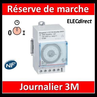 Legrand - Interrupteur horaire journalier analogique - réserve de 6 ans - AUTO - 412823