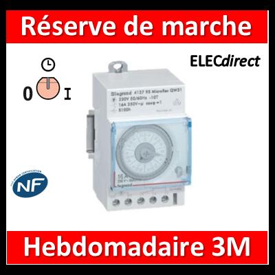 Legrand - Interrupteur horaire hebdomadaire analogique avec réserve de marche - 412795
