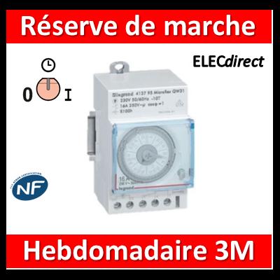 Legrand - Interrupteur horaire hebdomadaire analogique - réserve de 6 ans - AUTO - 412828