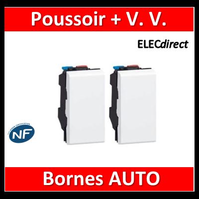 Legrand Mosaic - Bouton poussoir + Va et vient - 2 modules - 230V - 077030+077001