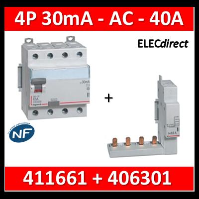 LEGRAND - Interrupteur différentiel DX3-ID 4P 40A - 30mA - AC + module 4P - 411661+406301