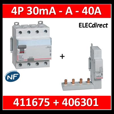 LEGRAND - Interrupteur différentiel DX3-ID 4P 40A - 30mA - A + module 4P - 411675+406301