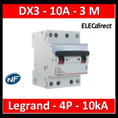 Legrand - Disjoncteur 4P DX3 10A - 10kA - courbe C - 407906
