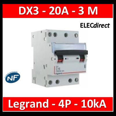 Legrand - Disjoncteur 4P DX3 20A - 10kA - courbe C - 407908