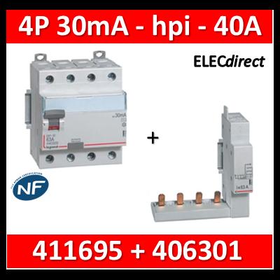 LEGRAND - Interrupteur différentiel DX3-ID 4P 40A - 30mA - HPI + module 4P - 411695+406301