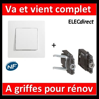 Legrand Niloé - Va et Vient 10A Blanc + griffes pour rénovation - 664701+665001+665099x2