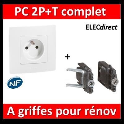 Legrand Niloé - Prise de courant 2P+T 16A + griffes - Blanc - 664735+665001+665099x2