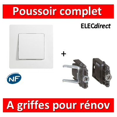 Legrand Niloé - Poussoir 6A Blanc + griffes - 664705++665001+665099x2