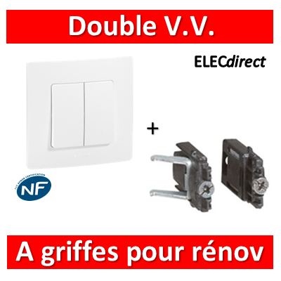 Legrand Niloé - Double Va et Vient 10A Blanc + griffes - 664702+665001+665099x2