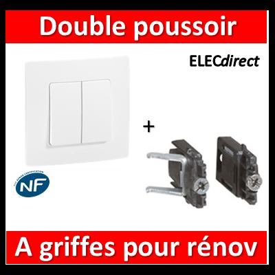 Legrand Niloé - Double poussoir Blanc + griffes - 664708+665001+665099x2