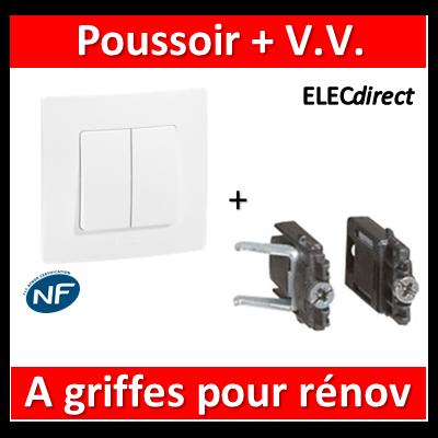 Legrand Niloé - Va et Vient 10A + poussoir Blanc + griffes - 664709++665001+665099x2