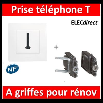 Legrand Niloé - Prise Téléphone T Blanc + griffes - 664768+665001+665099x2