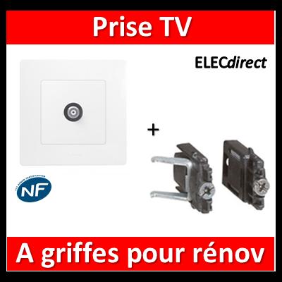 Legrand Niloé - Prise TV simple Blanc + griffes - 664751+665001+665099x2
