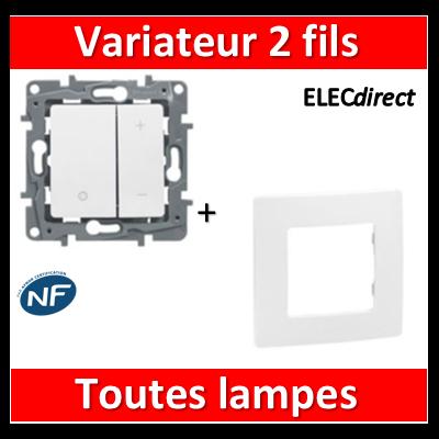 Legrand Niloé - Variateur universel toutes lampes + plaque - Blanc - 665114+665001