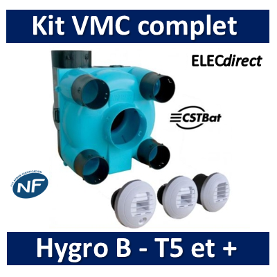 Nather - KIT VMC Simple Flux Hygroréglable T5 et + Type A/B - BBC/RT2012