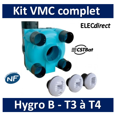 Nather - KIT VMC Simple Flux Hygroréglable T3/T4 Type A/B - BBC/RT2012