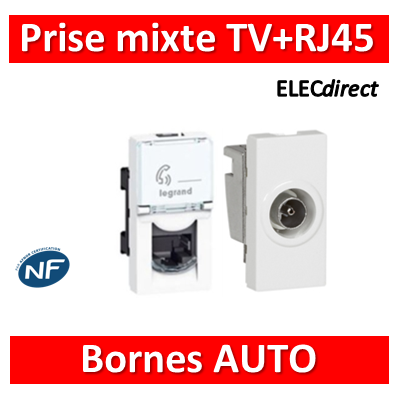 Legrand Mosaic - Prise RJ45 Cat. 6 FTP + Prise TV simple - 076562+078793