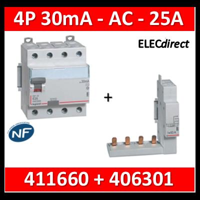 LEGRAND - Interrupteur différentiel DX3-ID 4P 25A - 30mA - AC + module 4P - 411660+406301