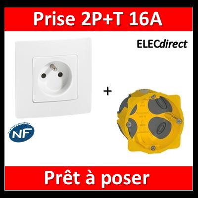 Legrand Niloé - Prise 2P+T Blanc + plaque + boîte encastrée Batibox BBC - 664735+665001+080021