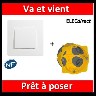 Legrand Niloé - Va et Vient Blanc + plaque + boîte encastrée Batibox BBC - 664701+665001+080021