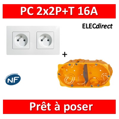 Legrand Niloé - PC 2x2P+T 16A pré-câblé + plaque + boîte batibox - Blanc - 664745+665002+080042