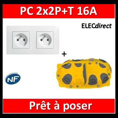 Legrand Niloé - PC 2x2P+T 16A pré-câblé + plaque + boîte batibox BBC - 664745+665002+080022
