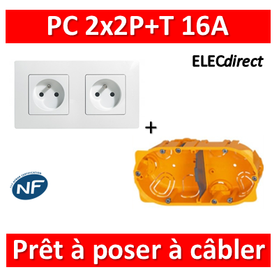 Legrand Niloé - PC 2x2P+T à câbler + plaque + boîte batibox - Blanc - 664735x2+665002+080042