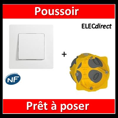 Legrand Niloé - Poussoir Blanc + plaque + boîte encastrée Batibox BBC - 664705+665001+080021