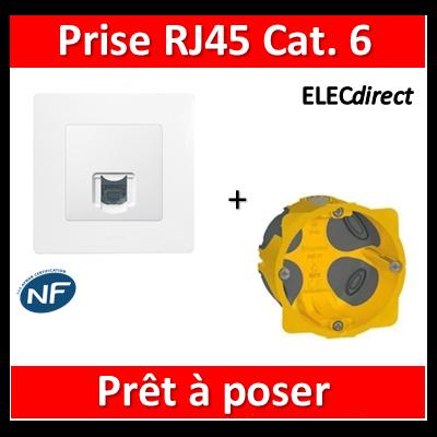 Legrand Niloé - Prise RJ45 cat 6 FTP + plaque + boîte batibox BBC - 664777+665001+080021