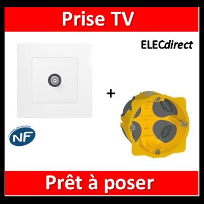 Legrand Niloé - Prise TV simple Blanc + plaque + boîte batibox BBC - 664751+665001+080021