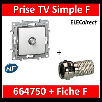 Legrand Niloé - Prise TV Fiche F - Blanc - 664750+Fiche F