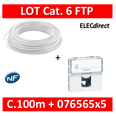 Legrand Mosaic - LOT RJ45 Cat. 6 FTP + Câble C.100m - 076565x5 + câble cat.6 FTP