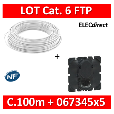 Legrand Céliane - LOT RJ45 FTP Cat. 6 + Câble C.100m - 067345x5 + câble cat. 6 FTP