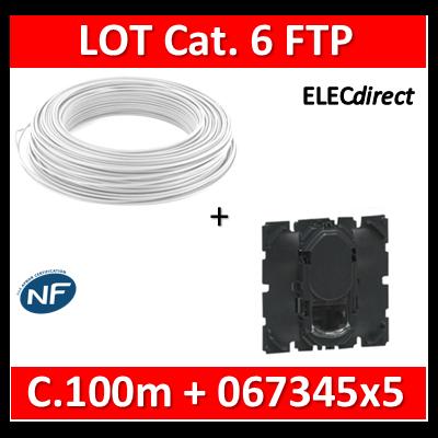 Legrand Céliane - LOT RJ45 FTP Cat. 6 + Câble C.100m - 067345x5 + câble cat. 6 FTP